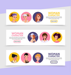 flat woman characters avatars horizontal banners vector image