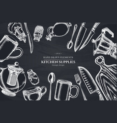 floral design with chalk chef s knifes teaspoon vector image