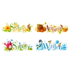 Four seasons calendar set Spring Summer Autumn vector