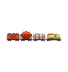 freight train cargo cars with container and box vector image