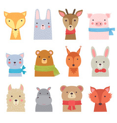 funny animals cute zoo collection shower kids vector image