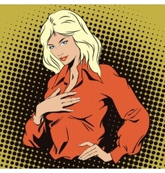 Girl presses her hand to her chest vector