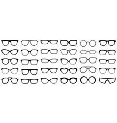 glasses silhouette retro eye health vector image