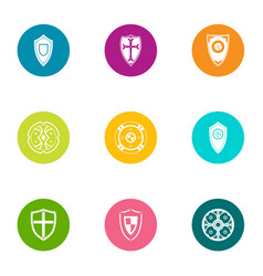 growth shield icons set flat style vector image