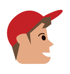 Happy man wearing cap sideview icon image vector