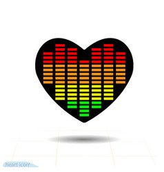 Heart black icon love symbol eq equalizer scale vector