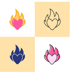 Heart on fire icon set in flat and line styles vector