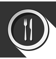 icon - cutlery fork and knife with shadow vector image