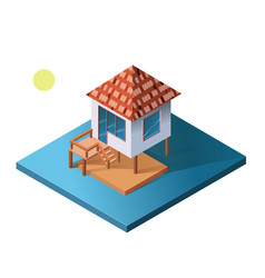 isometric holiday apartment bungalow on water vector image