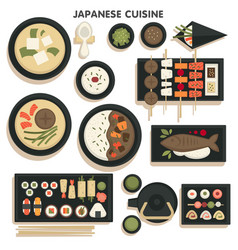 Japanese cuisine collection dishes and meals on vector