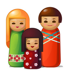 Japanese doll - woman man and child family toys vector