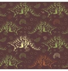 Jurassic stegosaurus seamless pattern vector