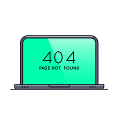 Laptop with 404 error page on screen vector