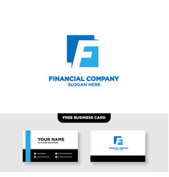 Letter f finance logo and business card template vector