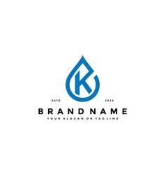 Letter k water drop logo design vector