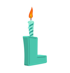 Letter l birthday font letter and candle vector