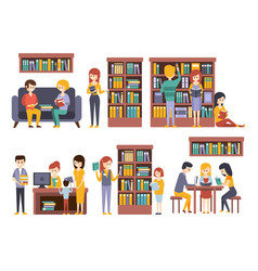 Library and bookstore with people reading choosing vector