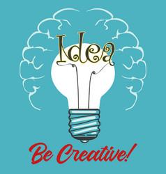 light bulb idea concept retro poster vector image