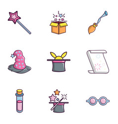 Magic show icons set flat style vector