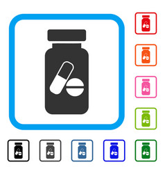 Medication vial framed icon vector