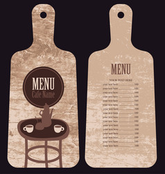 Menu for the cafe in the form cutting board vector