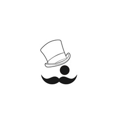 mustache hat man logo designs inspiration vector image