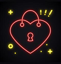 neon lock sign light padlock symbol safety vector image