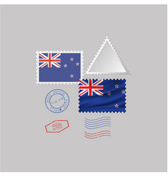 New zealand flag postage stamp set isolated on vector