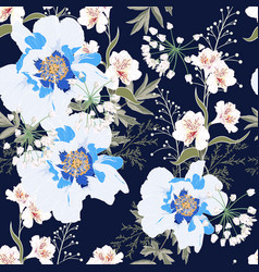 Pattern with blue peony flowers and lilies vector