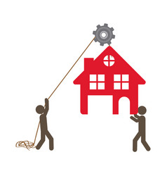People with pulleys hanging the house vector