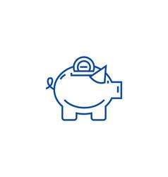 piggy line icon concept piggy flat symbol vector image