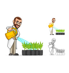 Plant Scientist Watering The Plants vector