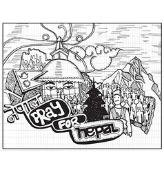 Pray for Nepal Hand drawn style vector
