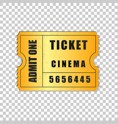 realistic gold cinema ticket isolated object vector image