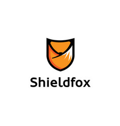 red fox shield logo vector image