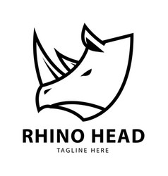 rhino head logo design template vector image