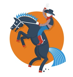 Rodeo posterCowboy on horse with text isolated on vector