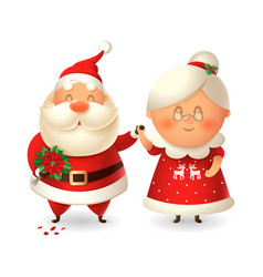 santa claus with flowers for his wife mrs claus vector image