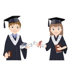 Schoolboy and schoolgirl in Graduate Costumes vector image