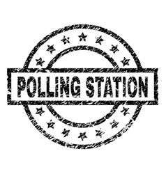 Scratched textured polling station stamp seal vector