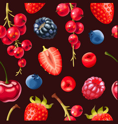 seamless pattern delicious ripe berries vector image