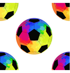 Seamless pattern with soccer balls with watercolor vector