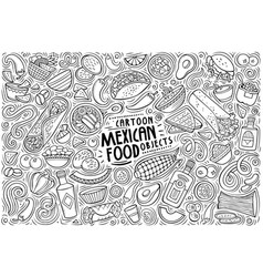 set mexican food theme items objects vector image