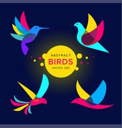 Set modern abstract birds logo template vector