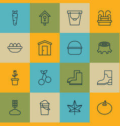 Set of 16 holticulture icons includes farmhouse vector
