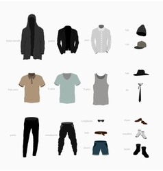 Set of clothes top bottom shoes and accessories vector
