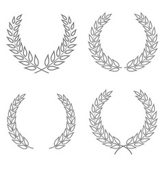 set of four laurel wreaths of different shapes vector image