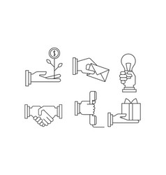 set of simple business icons in linear vector image