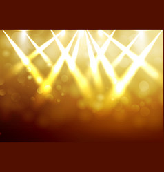 Shining gold disco spotlights with blured bokeh vector