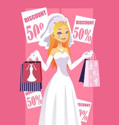 Shopping bride vector